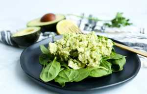 Avocado Chicken Salad recipe on a black plate