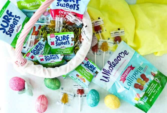 Easter Scavenger Hunt-an easter basket filled with Wholesome Surf Sweets organic candy