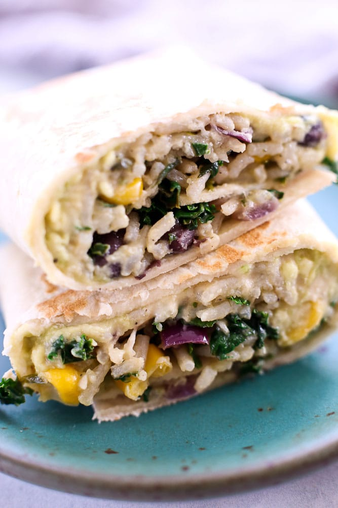 Hummus Veggie Wrap recipe close up