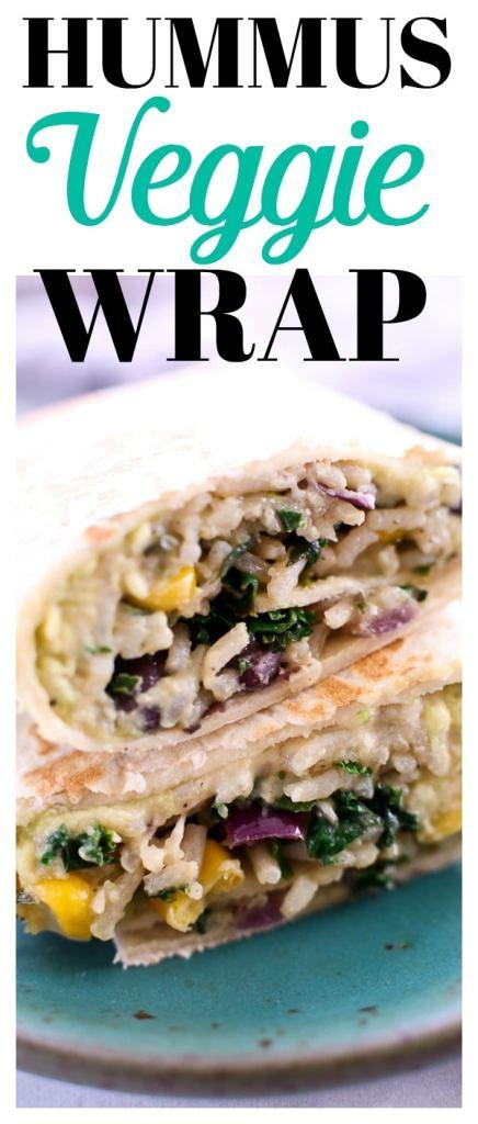 Hummus Veggie Wrap Recipe #lunch #vegetarian #recipes #hummus #avocado #beans #ideas #meatlessmonday
