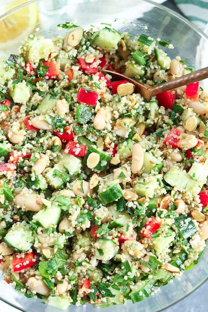 Quinoa Salad Recipe close up shot #quinoa #salad #quinoasalad #summer #recipes #healthy #healthyrecipes #easy #quick #vegetables #vegan #glutenfree #dairyfree