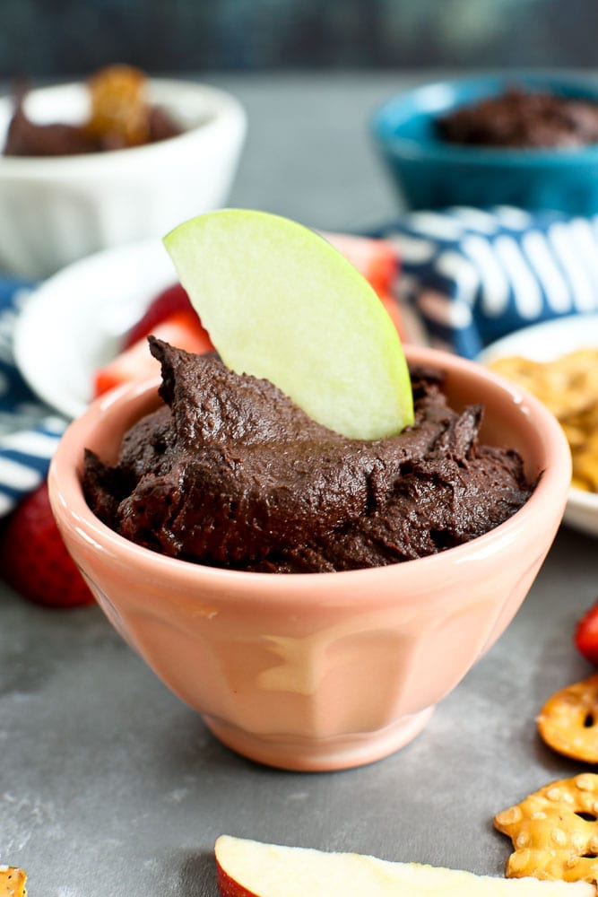 Brownie Batter Dessert Hummus recipe with apple dipping