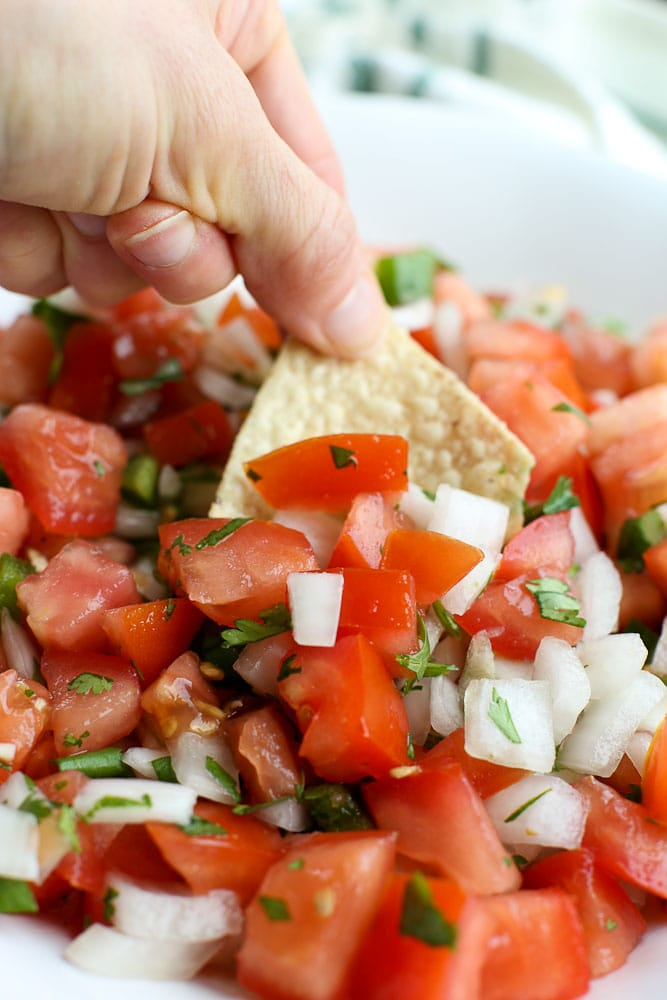 Pico de Gallo recipe with a tortilla chip