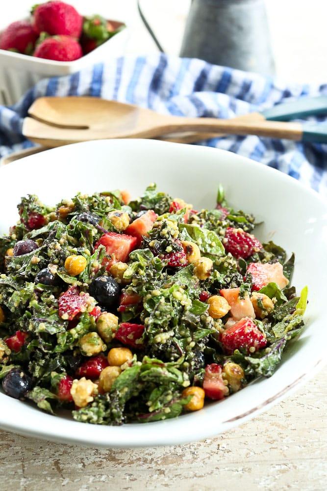 Massaged Kale Salad recipe #salad #healthy #vegan #glutenfree #healthyrecipes #saladrecipes #easyrecipes #summerrecipes #berries #blueberries #strawberries