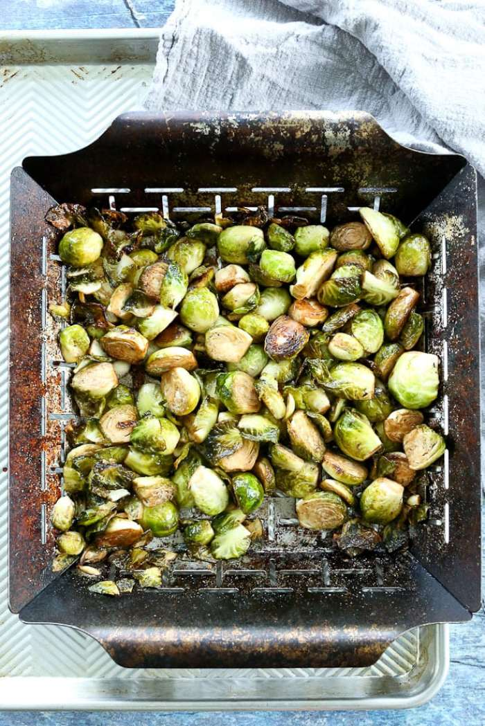 Grilled Brussels Sprouts recipe with grill basket