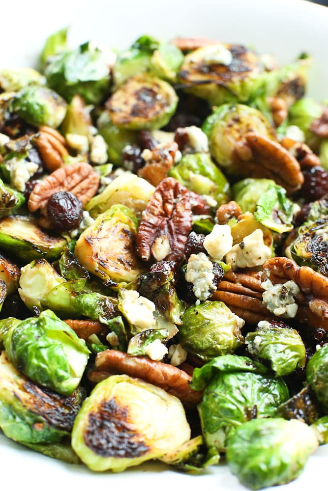 Sauteed Brussels Sprouts with cranberries, pecans, and blue cheese