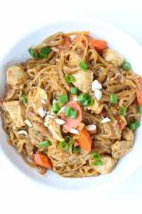Instant Pot Asian Noodle Bowls with chicken carrots
