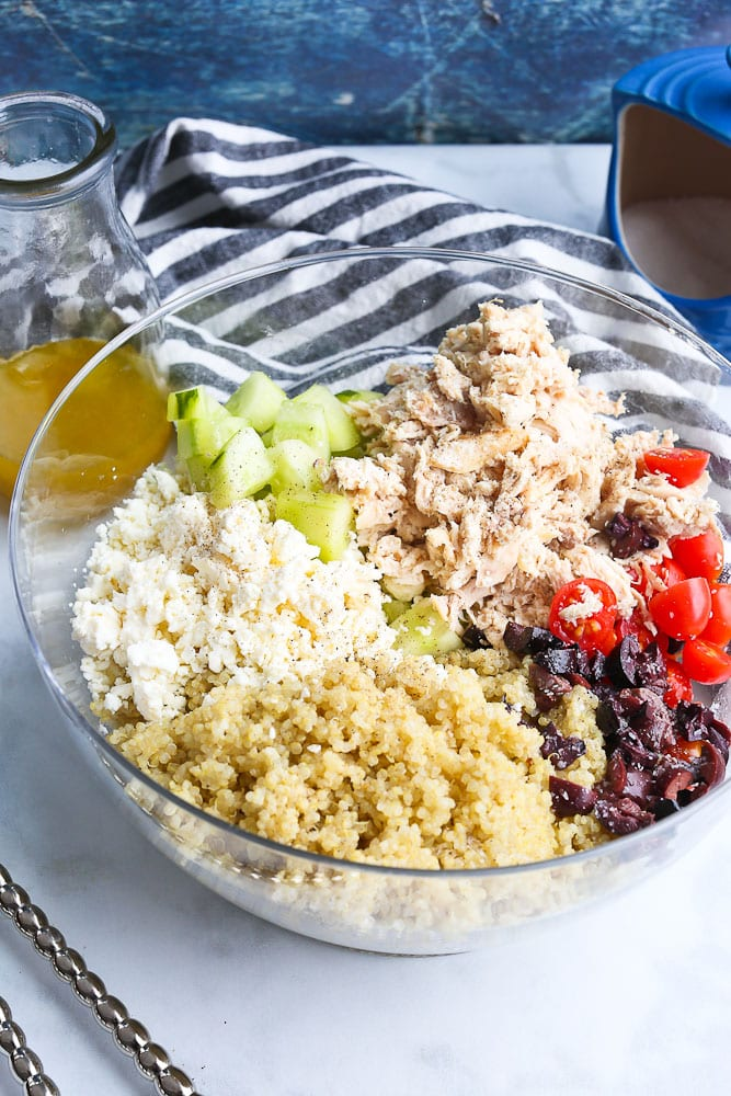 mediterranean Quinoa Salad with Chicken and citrus vinaigrette