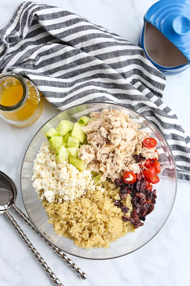 Mediterranean Quinoa Salad with Chicken and citrus vinaigrette separate ingredients