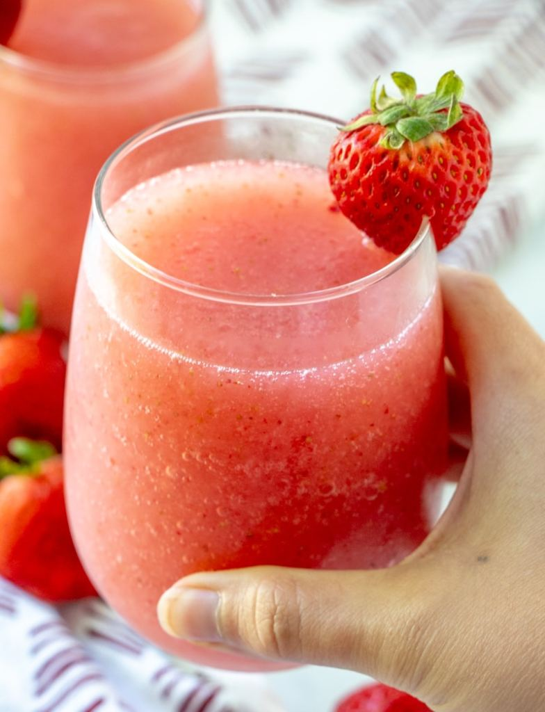 Strawberry Rose Wine Slushie or Frose in a glass