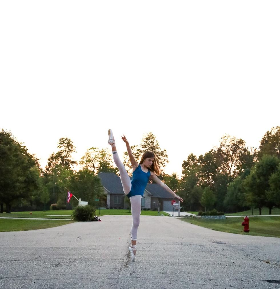 Meghan dancing in the street