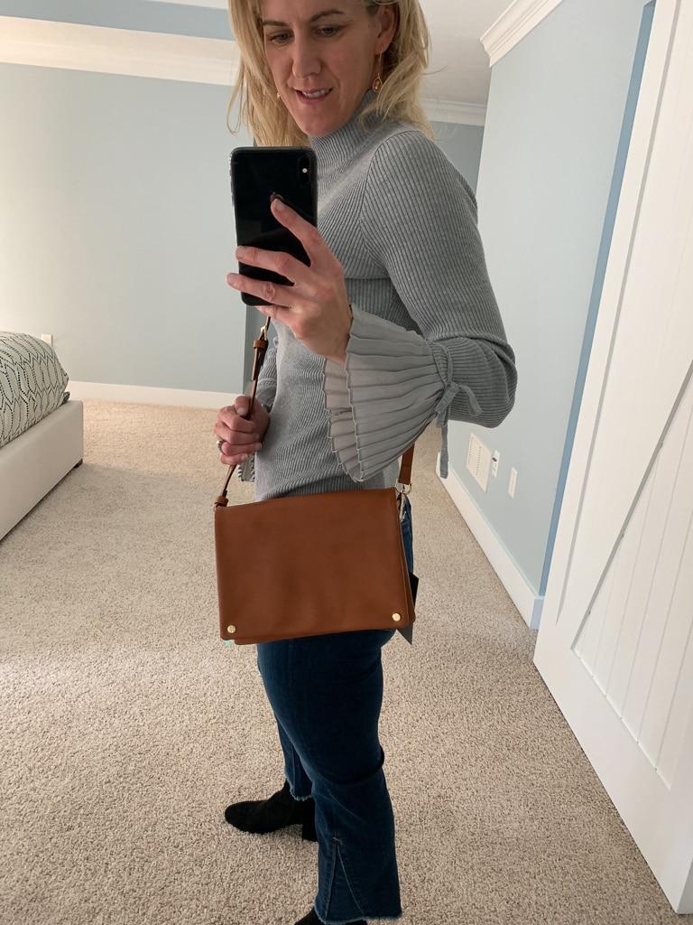 Street Level Fold Over Vegan Leather Crossbody Bag