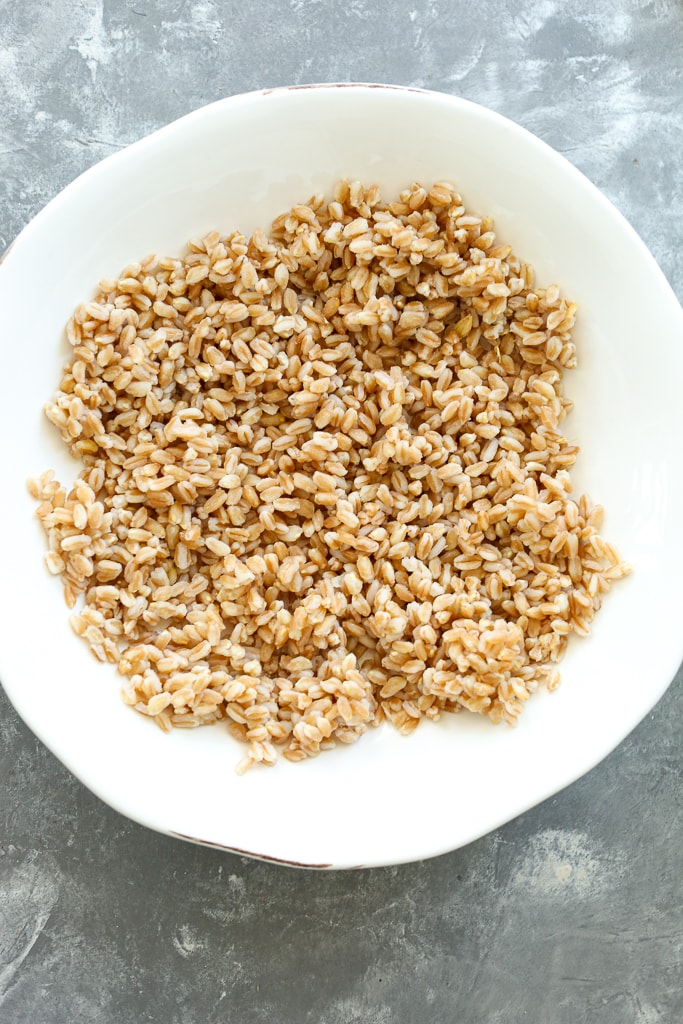 cooked farro in a white bowl