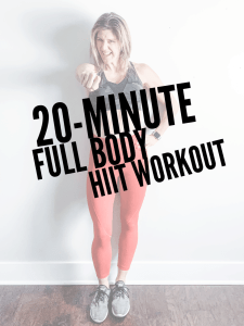 A woman standing in red leggings and a Camo sports bra with her arm out and the text 20-minute Full body HIIT Workout