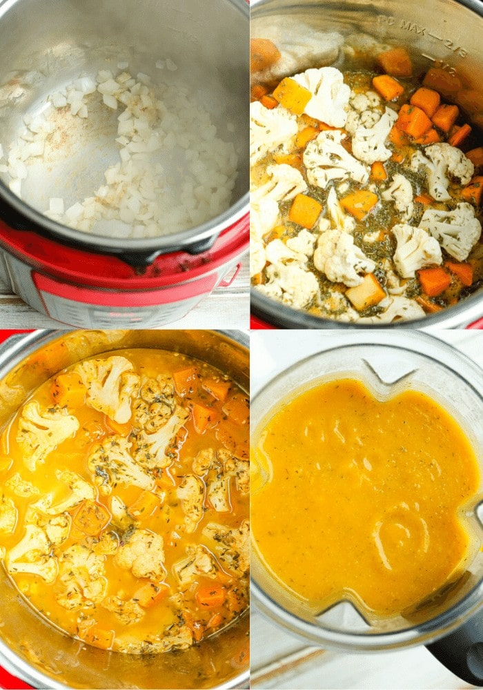 four photos showing the process of making the soup in the Instant Pot from sauteeing the onions to adding the cauliflower and butternut squash to after it's cooked to the after shot in the blender