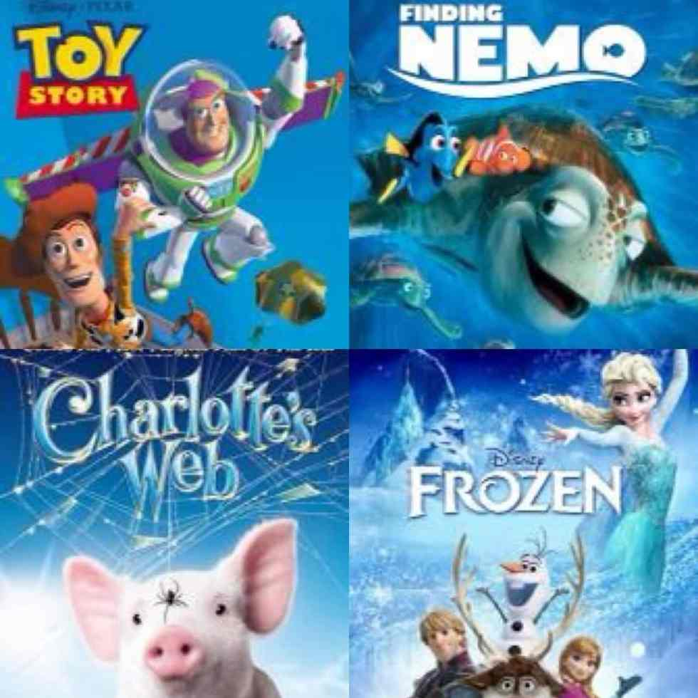 a collage of movie posters for Toy Story, Finding Nemo, Charlotte's Web, and Frozen