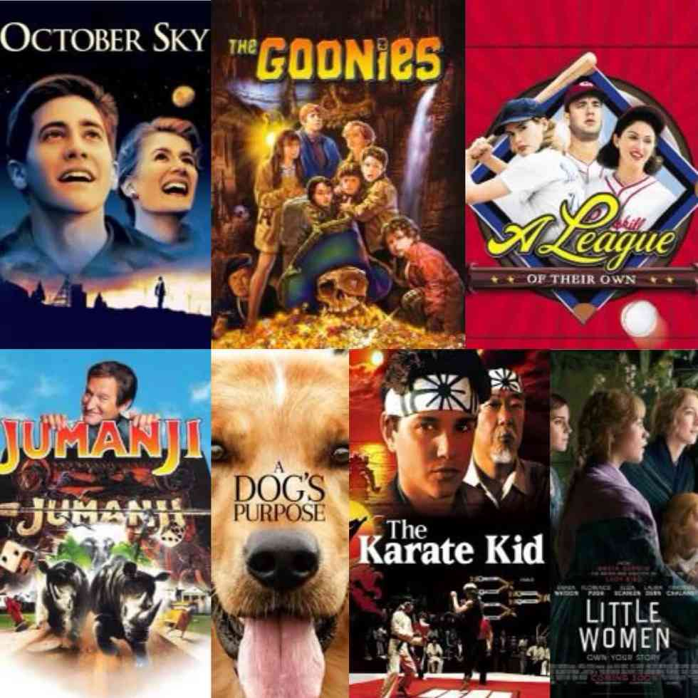movie poster collage with October sky, goonies, a league of their own, jumanji, a dog's purpose, karate kid, and little women