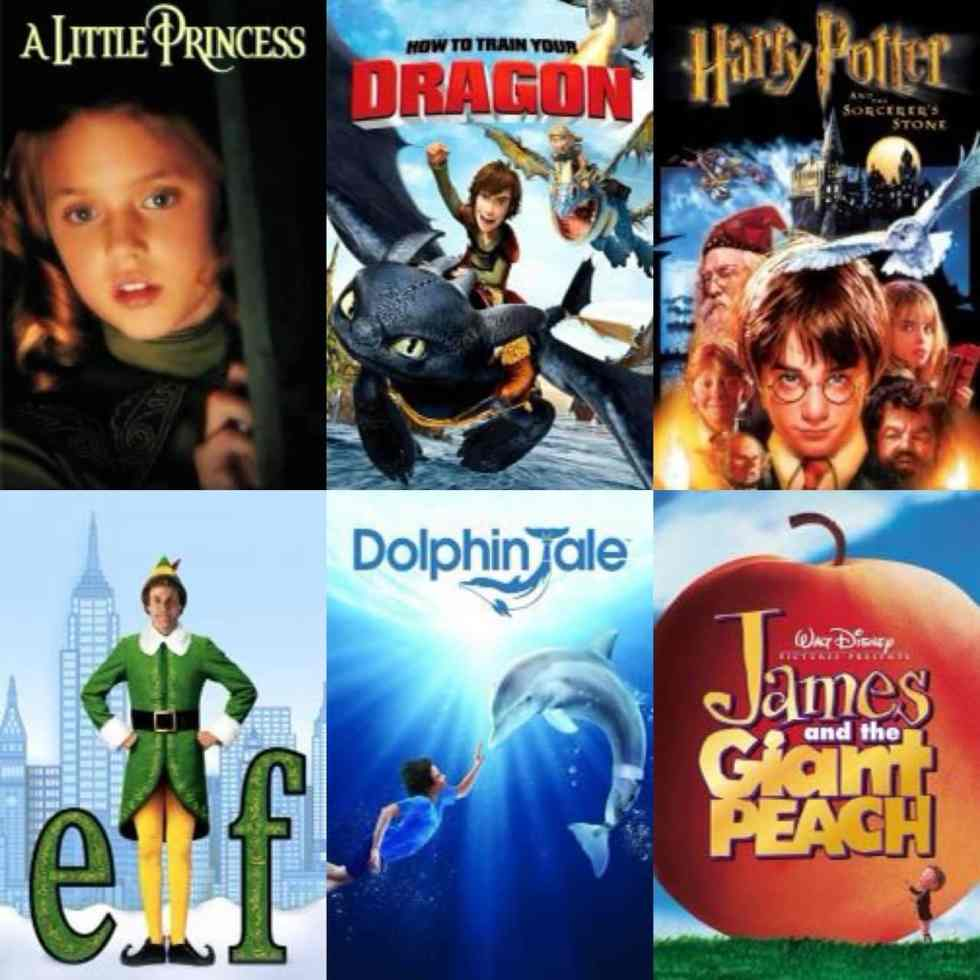 A collage of movie posters with A little princess, How to Train Your Dragon, Harry Potter, Elf, Dolphin Tale, and James and the Giant Peach