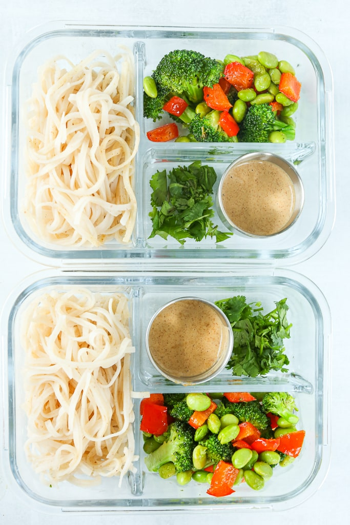 glass bento box container with ingredients for Vegan Asian Noodle Bowls stored inside