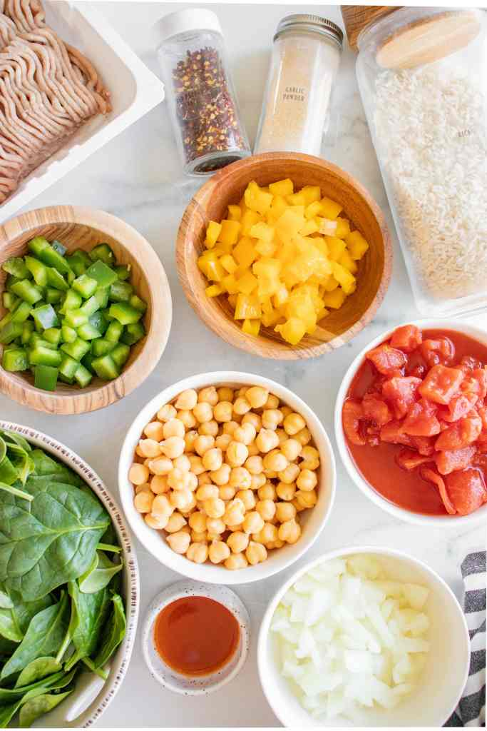 ingredients for spicy turkey meal prep bowls