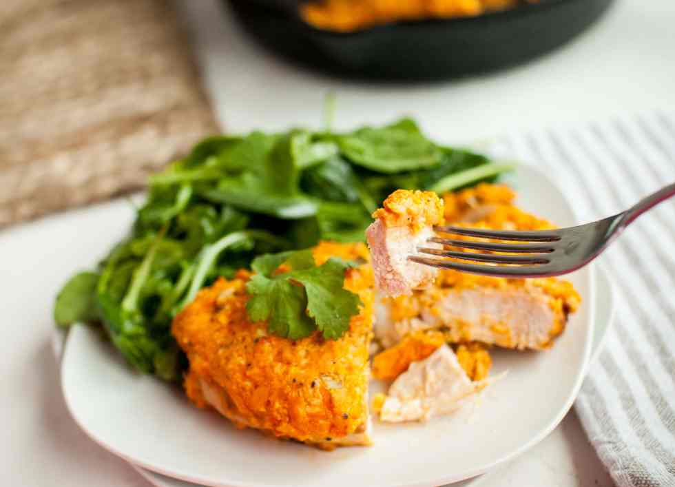 Buffalo Chicken Breast recipe cut with a fork
