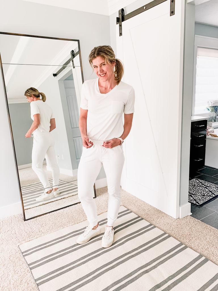 white tee shirt with white joggers