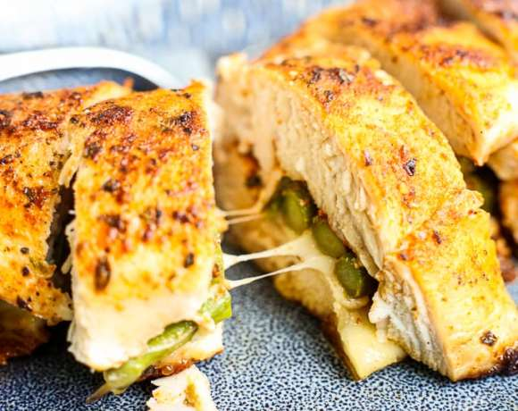 close up of Asparagus Stuffed Chicken Breasts recipe