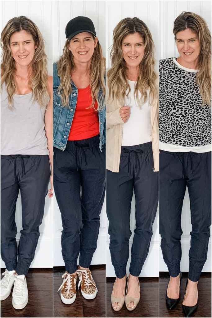 4 photos of a woman in different jogger outfits