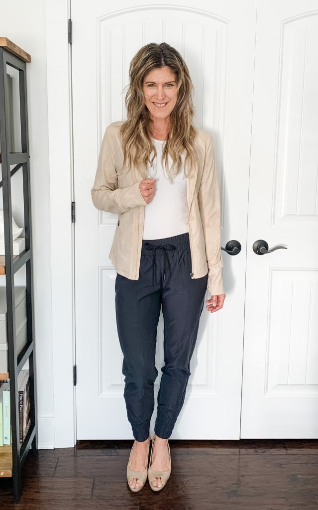 jogger pants styled for work