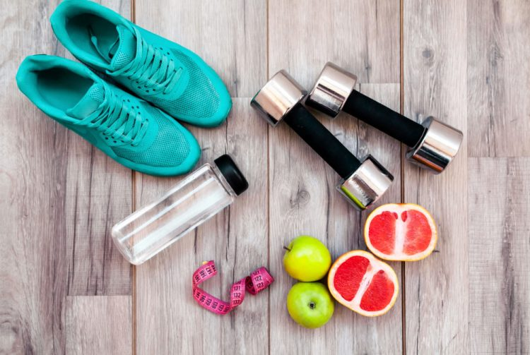 Health & Fitness- Shoes, Weights, Water Bottle, Fruit Easy Ways to Be Healthier