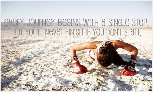 Health and Fitness-Woman doing Push-Up with Boxing Gloves on-Every Journey Begins with a Single Step, But You'll Never Finish if You Don't Start