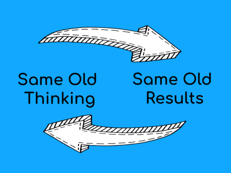Same Old Thinking Same Old Results showing you need Self-Talk