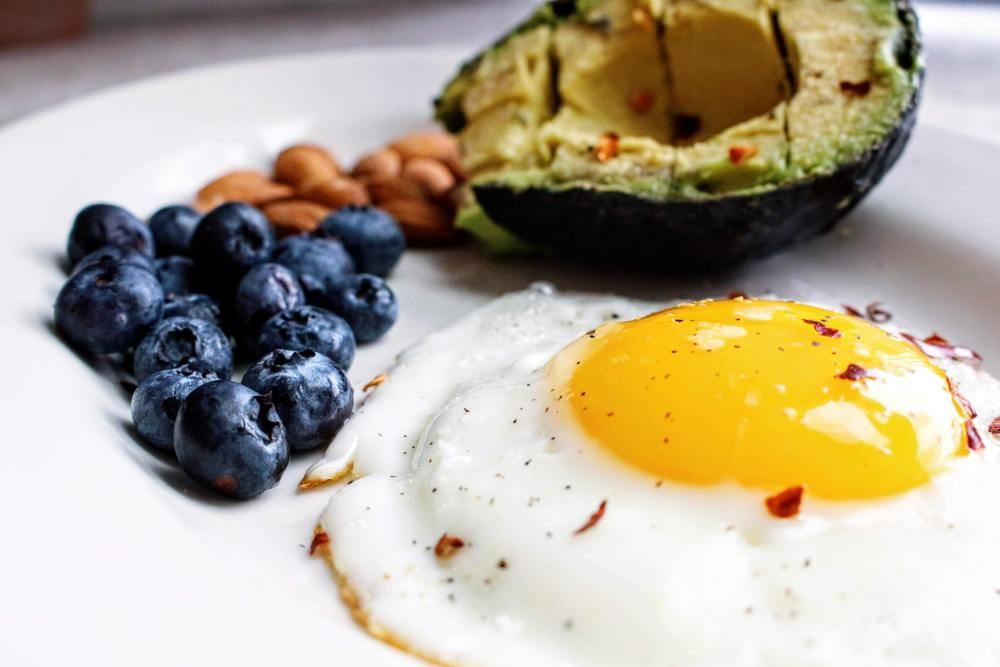 Low Carbohydrate Snacks- Egg, Avocado, Blueberries, and Almonds