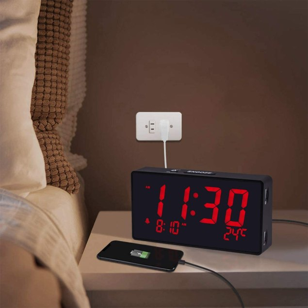 Alarm Clock With Bright Red Numbers