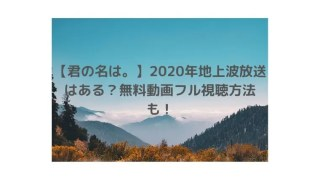 【君の名は。】2020年地上波放送はある?無料動画フル視聴方法も!