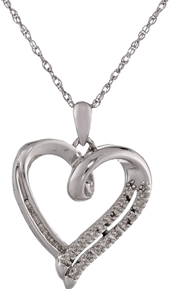 Sterling Silver White Round Diamond Heart Pendant Sweepstakes