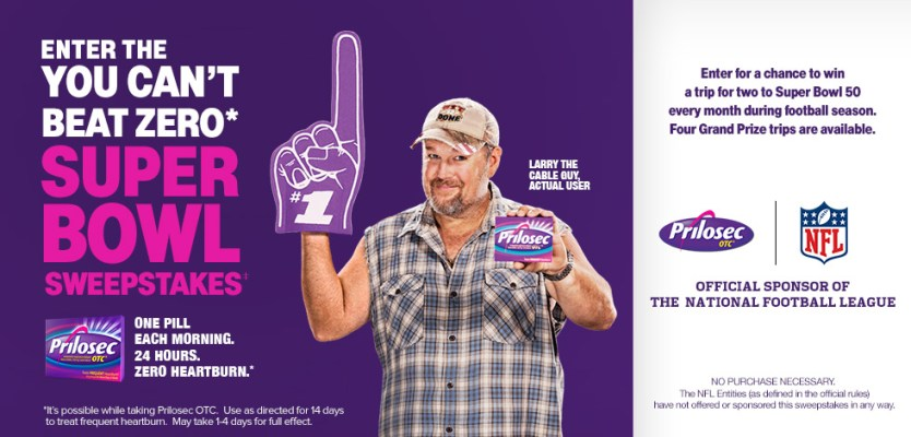 Prilosec OTC You Can't Beat Zero Super Bowl Sweepstakes