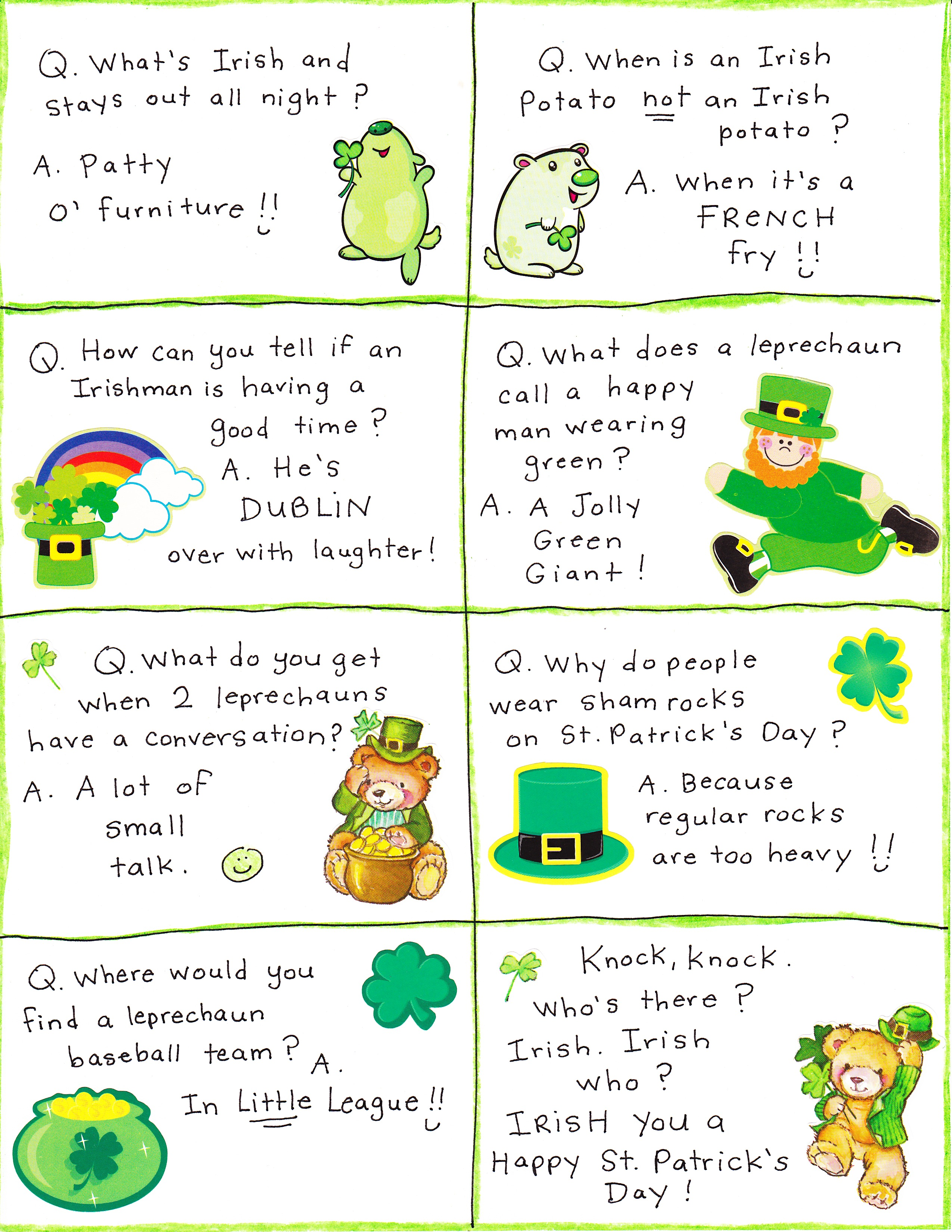 photograph relating to Printable Lunchbox Jokes known as St. Patricks Working day Lunch Box Jokes - No cost Printable! - Satisfied