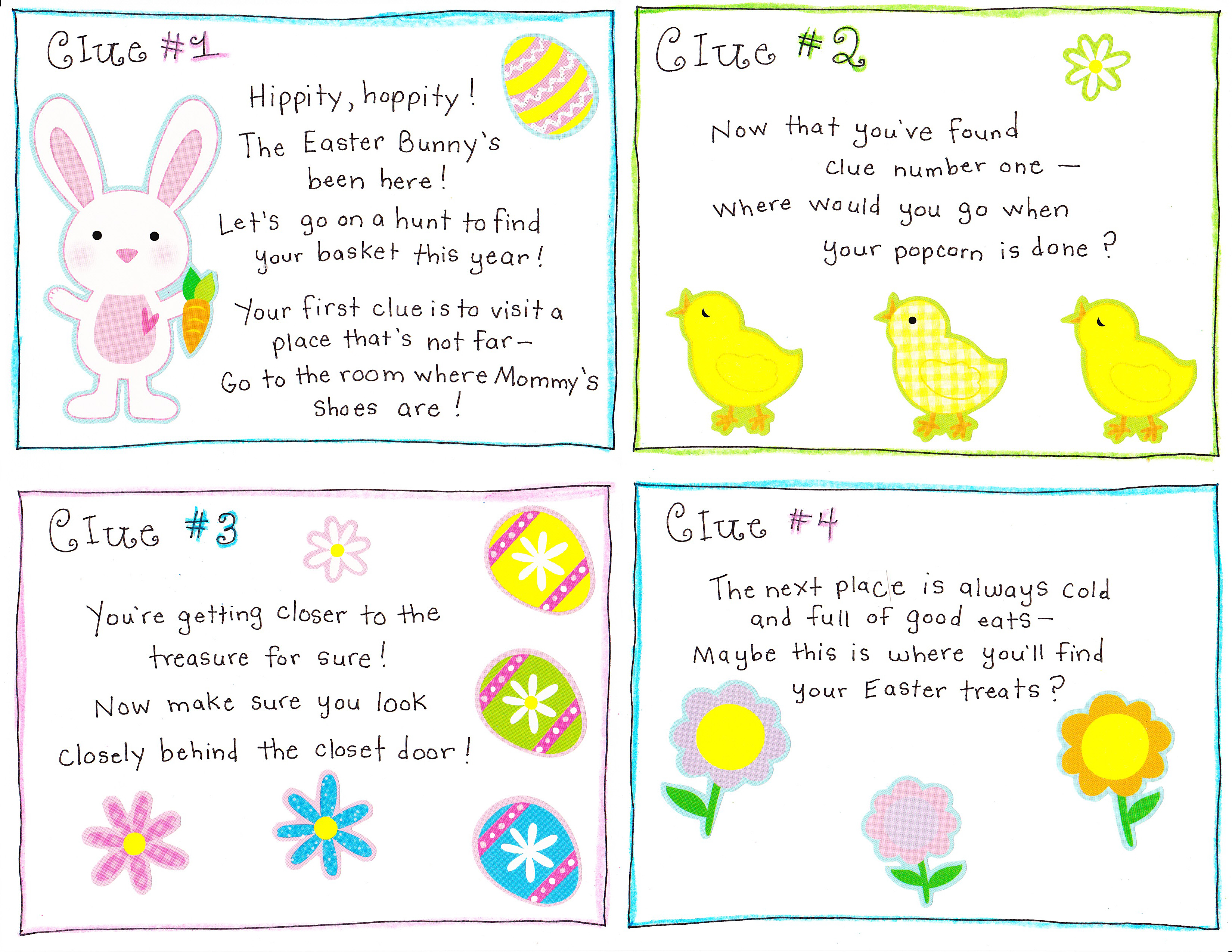 picture about Clue Cards Printable identified as Easter Early morning Scavenger Hunt - Free of charge Printable! - Joyful Household