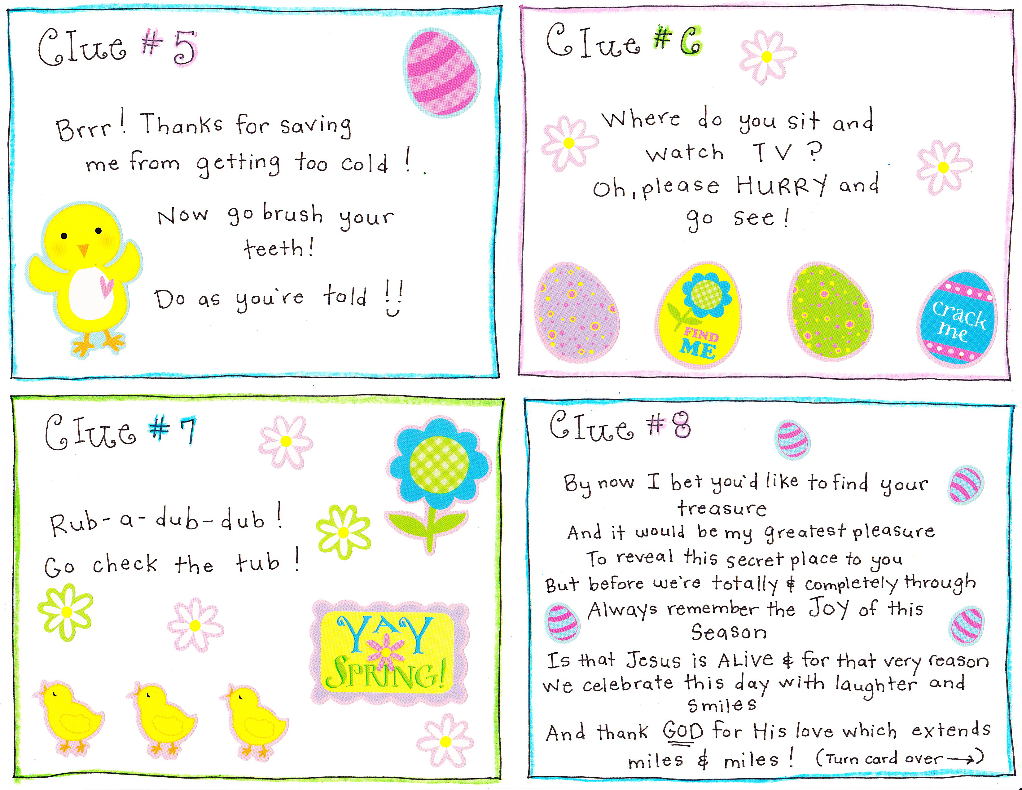 graphic relating to Clue Cards Printable referred to as Easter Early morning Scavenger Hunt - Totally free Printable! - Pleased Household