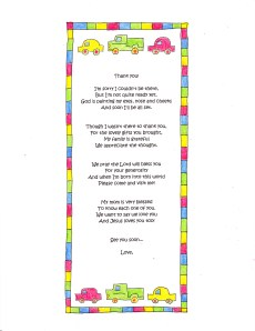 A Cute Baby Shower Thank You Poem