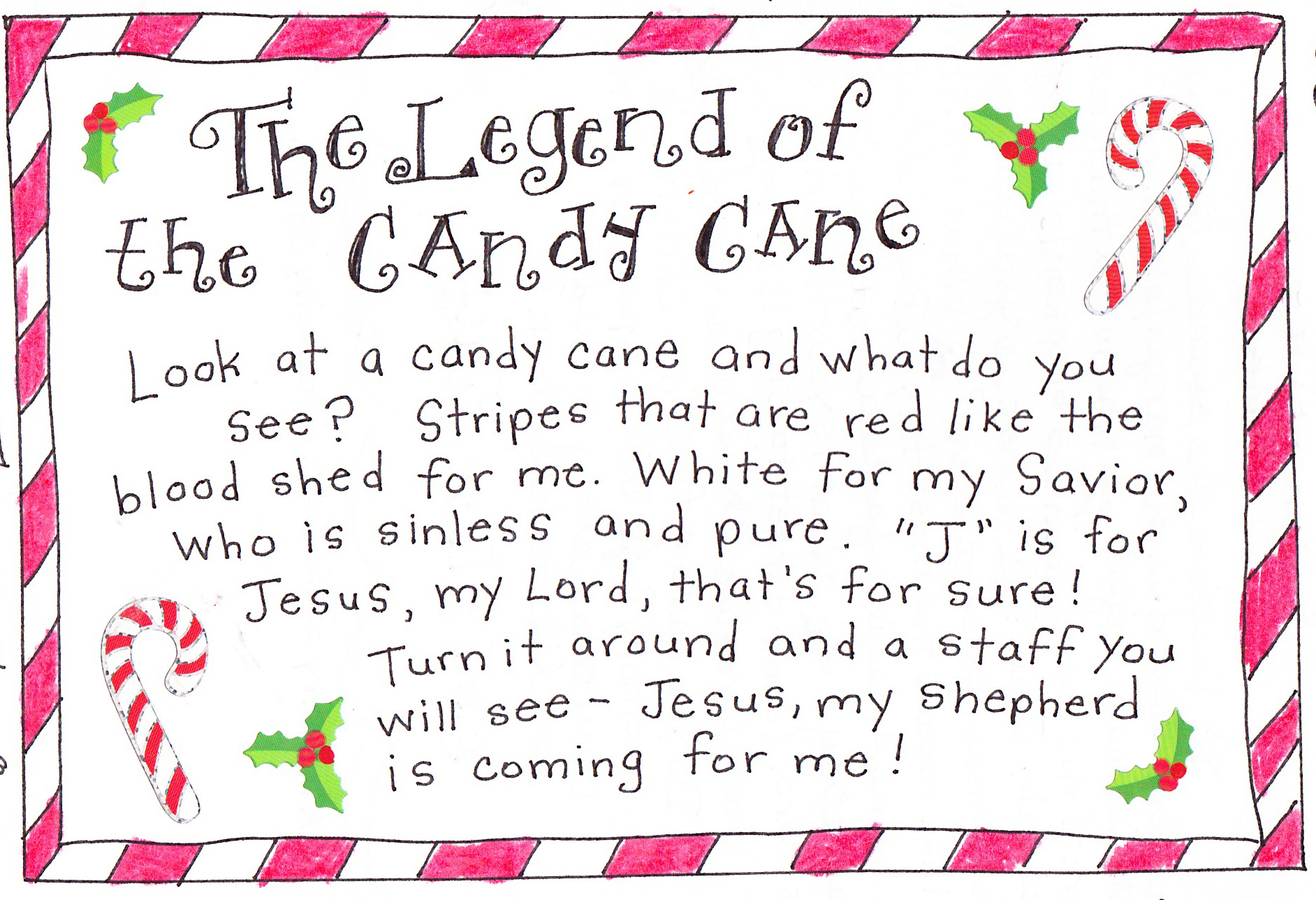 image relating to Legend of the Candy Cane Printable named The Legend of the Sweet Cane - Free of charge Printable! - Satisfied Property