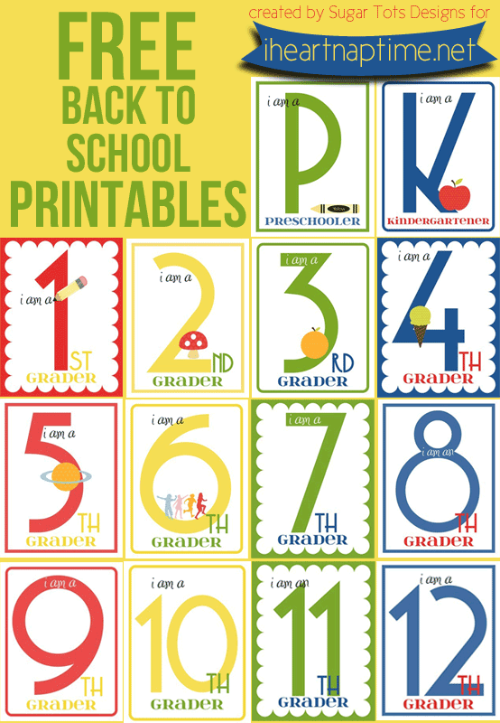 image about Free Printable Back to School Signs called No cost Printables for Again in the direction of Higher education - 1st Working day Photograph Indications