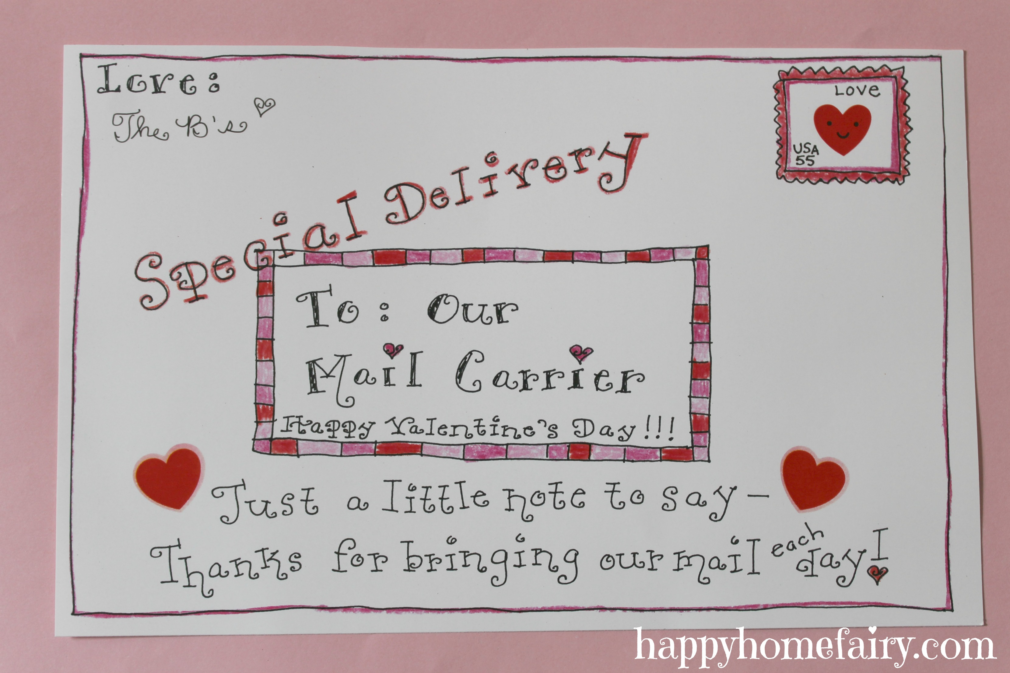 A Valentine For The Mail Carrier FREE Printable Happy