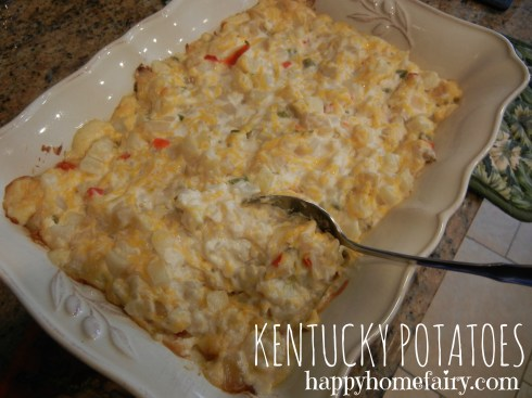 potato casserole at happyhomefairy.com - perfect dish for potlucks - never any leftovers and SO easy!!!