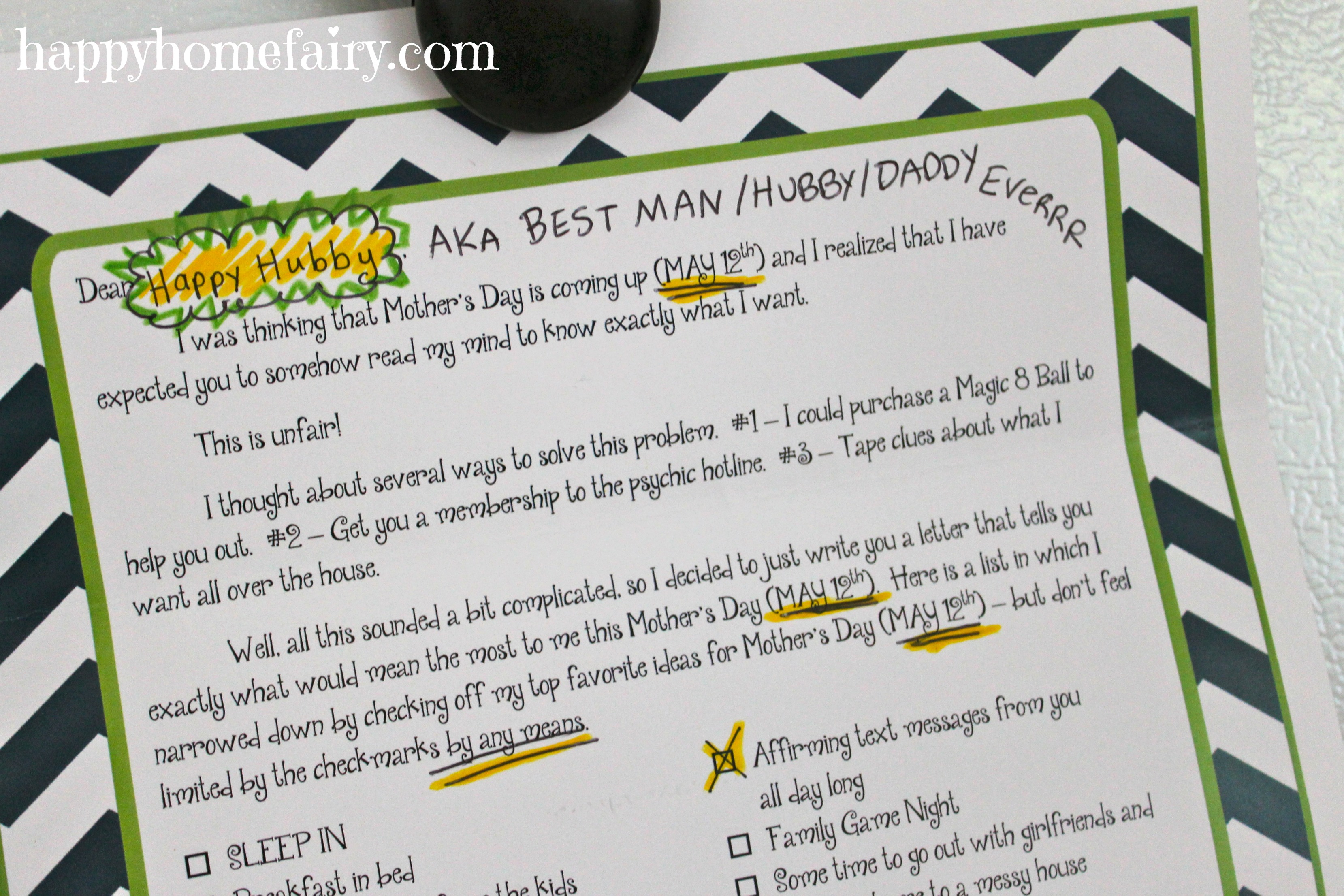 How to Help Your Hubby Give You the BEST Mother s Day EVER FREE
