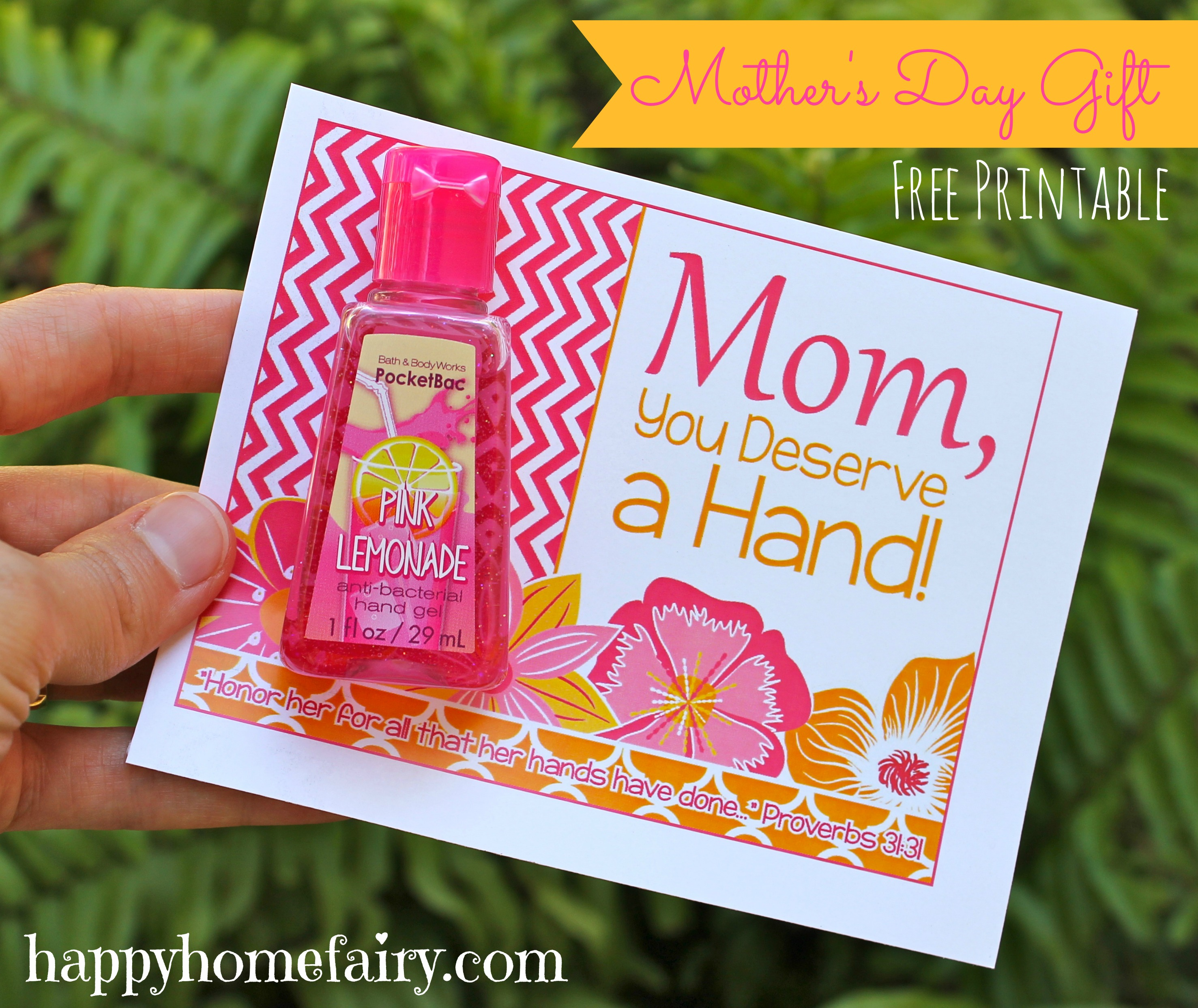 Easy mother 39 s day gift idea free printable happy home Cheap mothers day gift ideas to make