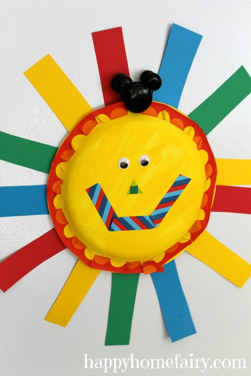 adorable summer sun paper plate craft