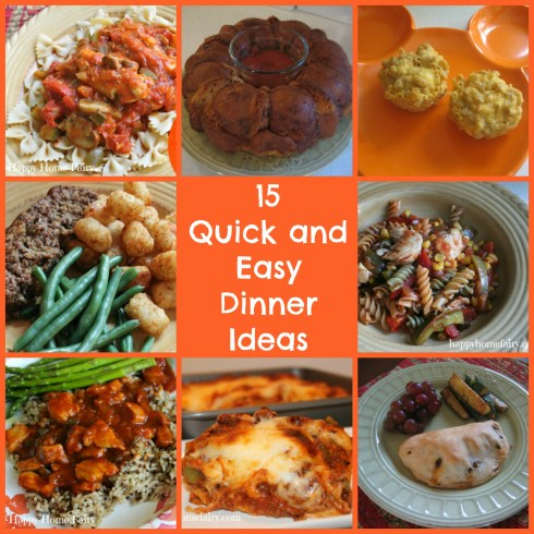 15 Quick and Easy Dinners for Busy School Nights! Such great, easy and tasty ideas!