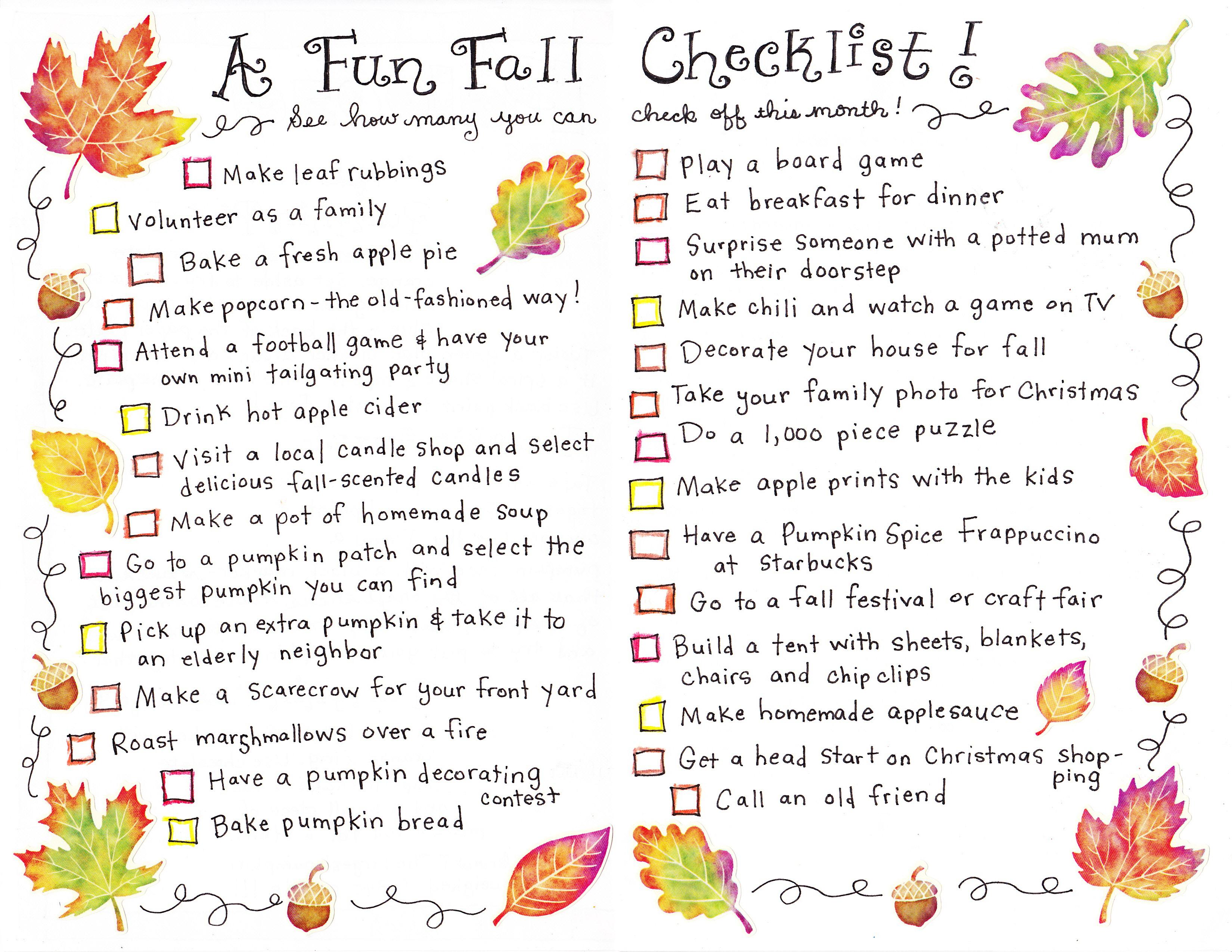 A Fall Checklist